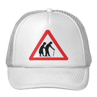 CAUTION Elderly People - UK Traffic Sign Trucker Hats