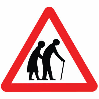 CAUTION Elderly People - UK Traffic Sign Photo Sculpture
