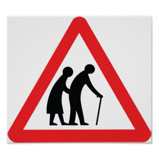 CAUTION Elderly People - UK Traffic Sign Poster