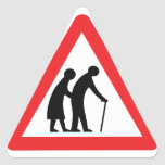 CAUTION Elderly People - UK Traffic Sign Triangle Sticker