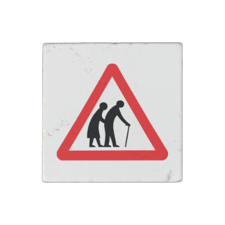 CAUTION Elderly People - UK Traffic Sign Stone Magnet