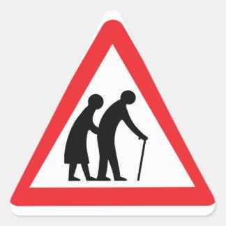 CAUTION Elderly People - UK Traffic Sign Triangle Sticker