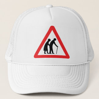 CAUTION Elderly People - UK Traffic Sign Trucker Hat