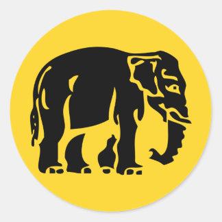 Caution Elephants Crossing ⚠ Thai Road Sign ⚠ Classic Round Sticker