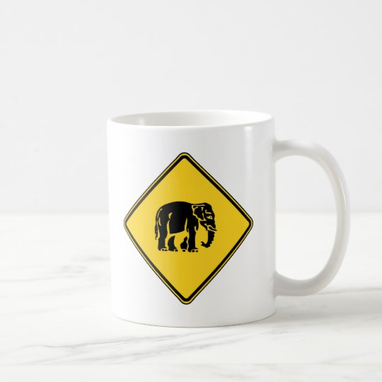 Caution Elephants Crossing ⚠ Thai Road Sign ⚠ Coffee Mug
