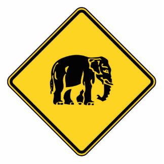 Caution Elephants Crossing ⚠ Thai Road Sign ⚠ Cutout