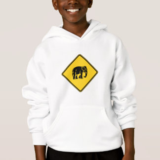 Caution Elephants Crossing ⚠ Thai Road Sign ⚠ Hoodie