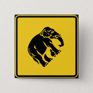 Caution Elephants Crossing ⚠ Thai Road Sign ⚠ Pinback Button