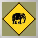 Caution Elephants Crossing ⚠ Thai Road Sign ⚠ Print