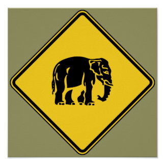 Caution Elephants Crossing ⚠ Thai Road Sign ⚠ Poster