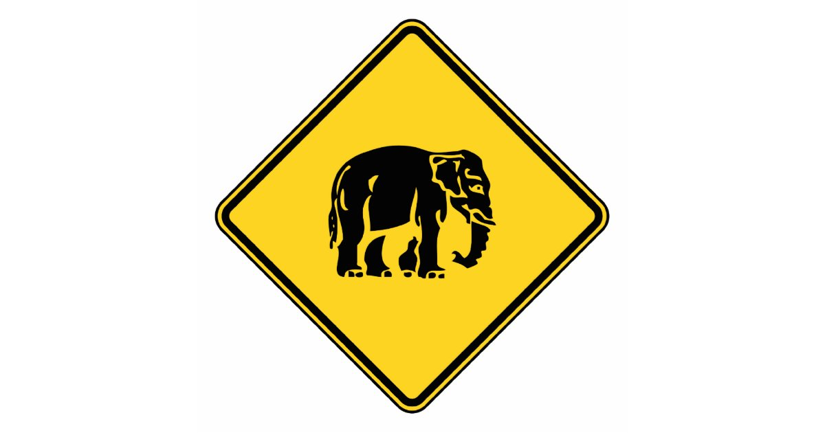 Caution Elephants Crossing ⚠ Thai Road Sign ⚠ Standing