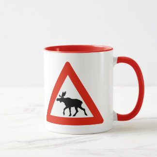 Caution Elks, Traffic Sign, Norway Mug