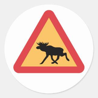 Caution Elks, Traffic Sign, Sweden Classic Round Sticker