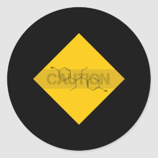 Caution: Estrogen Classic Round Sticker