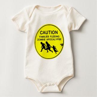 CAUTION FAMILIES FLEEING ZOMBIE APOCALYPSE BABY BODYSUIT
