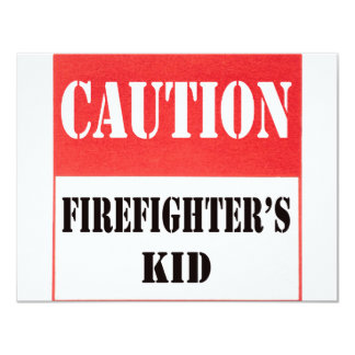 caution- firefighter's kid card