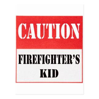 caution- firefighter's kid postcard
