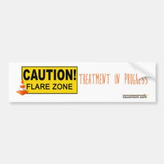 Caution Flare Zone chronic illness bumper sticker