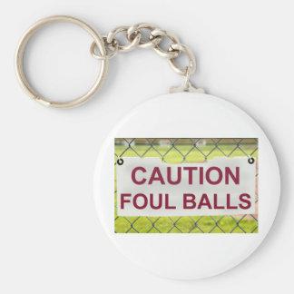 Caution Foul Balls Sign Keychain