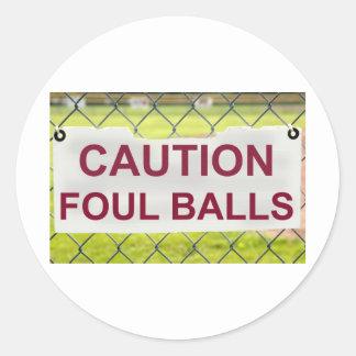 Caution Foul Balls Sign Sticker