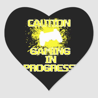 Caution, Gaming in Progress Heart Stickers