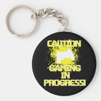 Caution, Gaming in Progress Keychain