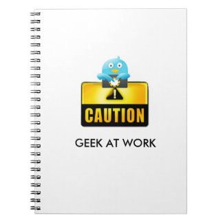 Caution Geek At Work Notebook