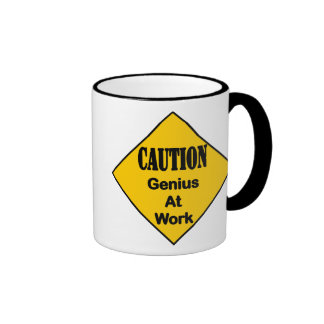 Caution Genius at Work Ringer Mug