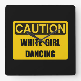 Caution Girl Dance Square Wall Clock