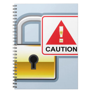 Caution Golden Lock vector Icon Notebook