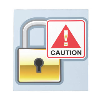 Caution Golden Lock vector Icon Notepad