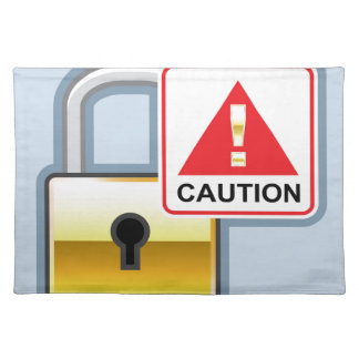 Caution Golden Lock vector Icon Placemat