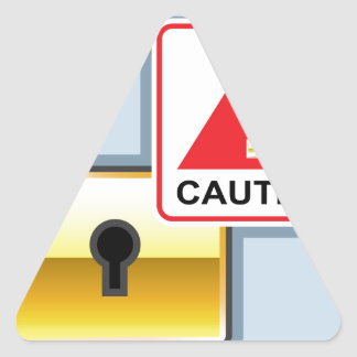 Caution Golden Lock vector Icon Triangle Sticker