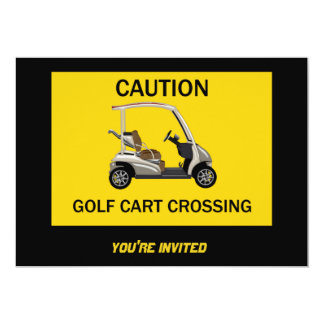 Caution Golf Cart Crossing Sign Card