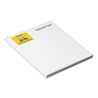 Caution Golf Cart Crossing Sign Notepad