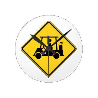 Caution Golf Cart Sign Round Clock