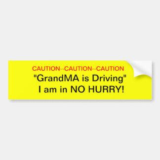 Caution GrandMa Driver Bumper Sticker