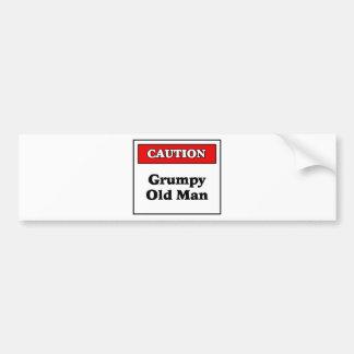 Caution Grumpy Old Man Bumper Sticker