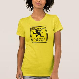 Caution Hackers at Play - bandsaw T-Shirt