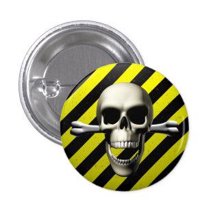 Caution Hazard 1 Inch Round Button