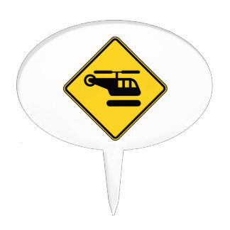 Caution Helicopter Sign Cake Topper