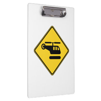 Caution Helicopter Sign Clipboard