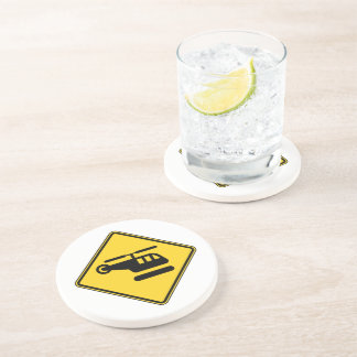 Caution Helicopter Sign Drink Coaster
