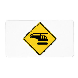 Caution Helicopter Sign Label