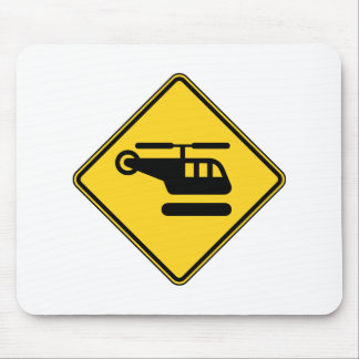 Caution Helicopter Sign Mouse Pad