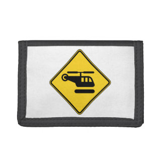 Caution Helicopter Sign Trifold Wallet