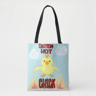Caution: Hot Chick Cartoon Tote Bag