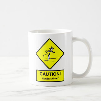 Caution Hurdles Ahead road sign Track and Field Coffee Mug