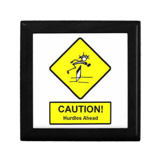 Caution Hurdles Ahead road sign Track and Field Jewelry Box