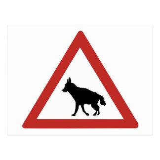Caution Hyenas 1, Traffic Warning Sign, Namibia Postcard